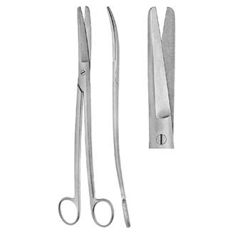 Ножницы Сиболда гинекологические тупоконечные изогнутые с изогнутыми ручками, длина 240 мм.