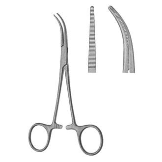 Зажим кровоостанавливающий Денди изогнутый по ребру 1х2 зубый дл. 140 мм. 11-159-14