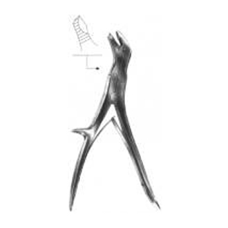 Щипцы костные, кусачки шарнирные с двойной передачей с овальными губками, изогнутые по ребру Щ-111