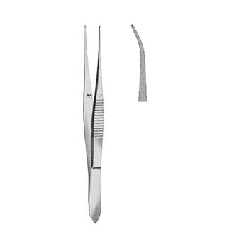 Пинцет деликатный хирургический изогнутый с шириной рабочей части 0.5 мм и длиной 105 мм. 09-455-03