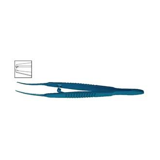 Пинцет фиксационный для мышц с замком изогнутый, титановый OF 181.03L