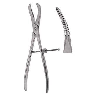 Зажим-костодержатель репозиционный вертикально-изогнутый для захватывания и удержания трубчатых костей с винтовым фиксатором дл. 240 мм.