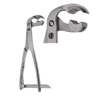 Зажим-костодержатель Ламботте прямой для захватывания и удержания трубчатых костей (14 мм) с реечным фиксатором дл. 210 мм.