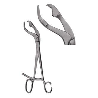 Зажим-костодержатель Вербрюжже изогнутый по ребру для захватывания и удержания трубчатых костей.