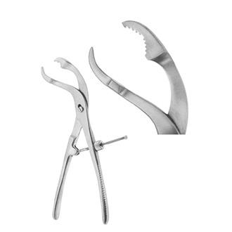 Зажим-костодержатель изогнутый по ребру для захватывания и удержания трубчатых костей с винтовым фиксатором