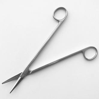 Ножницы Горнея для пластической хирургии прямые тупоконечные (одно лезвие с зубчатой насечкой).